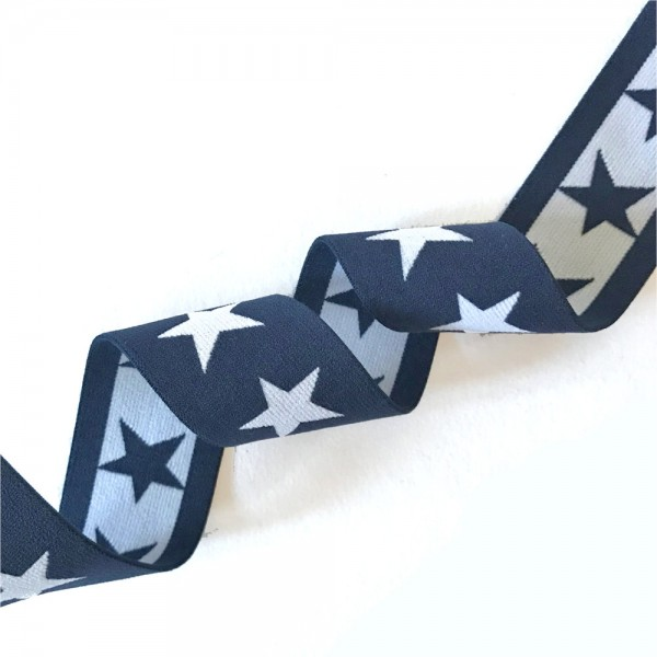Gummiband BREIT Sterne, 4cm, dunkelblau-weiß